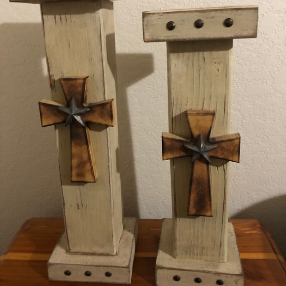 Wooden candle stick holders